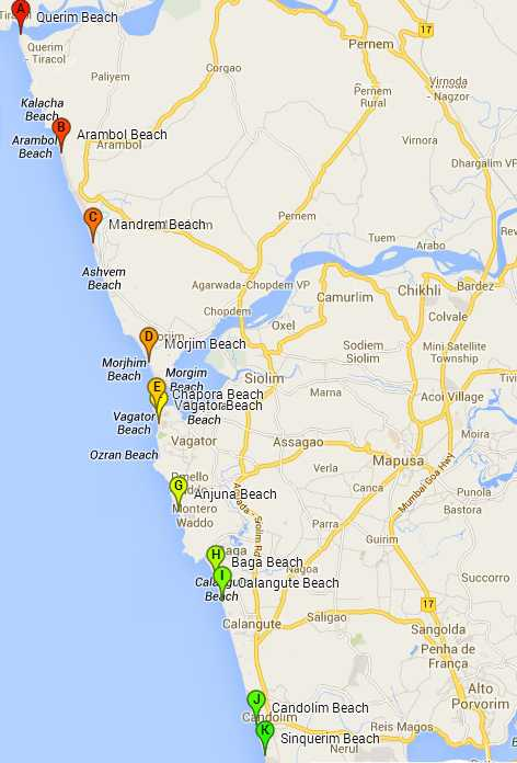 North Goa Beaches map: top beaches in Goa